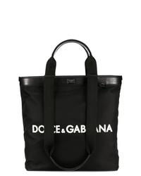Bolsa tote de lona estampada en negro y blanco de Dolce & Gabbana