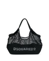 Bolsa tote de lona estampada en negro y blanco de Dsquared2