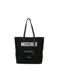 Bolsa tote de lona estampada en negro y blanco de Moschino