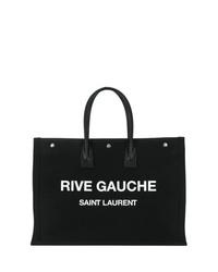 Bolsa tote de lona estampada en negro y blanco de Saint Laurent
