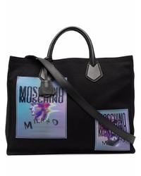 Bolsa tote de lona estampada negra de Moschino