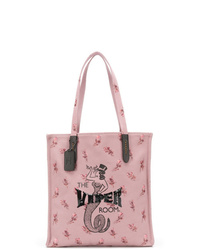 Bolsa tote de lona estampada rosada de Coach