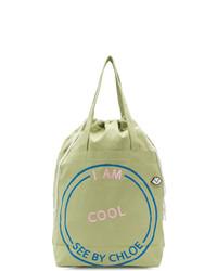 Bolsa tote de lona estampada verde oliva de See by Chloe