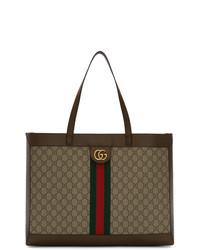 Bolsa tote de lona marrón claro de Gucci