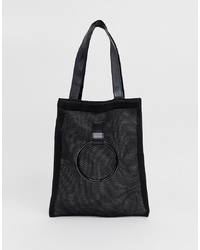 Bolsa tote de lona negra de French Connection