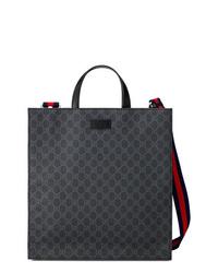 Bolsa tote de lona negra de Gucci