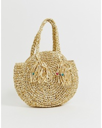 Bolsa tote de paja marrón claro de South Beach