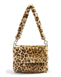 Bolsa tote de pelo de leopardo marrón claro