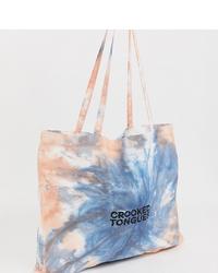 Bolsa tote efecto teñido anudado en multicolor de Crooked Tongues