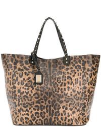 Bolsa tote estampada marrón claro de Dolce & Gabbana