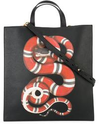 Bolsa Tote Estampada Negra de Gucci
