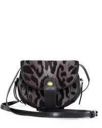 Bolso bandolera de ante de leopardo en gris oscuro