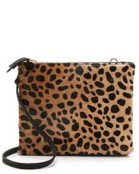 Bolso bandolera de ante de leopardo marrón claro