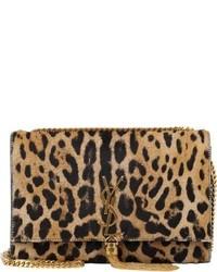Bolso bandolera de ante de leopardo marrón