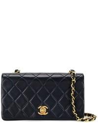 Bolso bandolera de cuero acolchado azul marino de Chanel