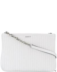 Bolso bandolera de cuero acolchado blanco de DKNY