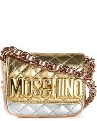 Bolso bandolera de cuero acolchado dorado de Moschino