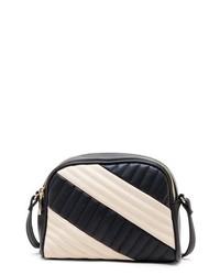 Bolso bandolera de cuero acolchado en blanco y negro