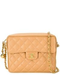 Bolso bandolera de cuero acolchado marrón claro de Chanel