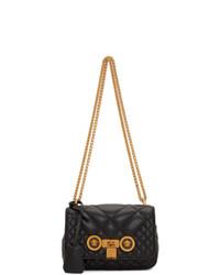 Bolso bandolera de cuero acolchado negro de Versace