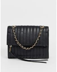 Bolso bandolera de cuero acolchado negro de Yoki Fashion