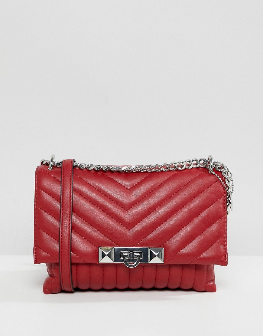 Bolso bandolera de cuero acolchado rojo de Aldo