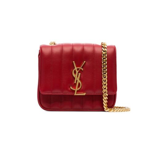 Bolso bandolera de cuero acolchado rojo de Saint Laurent