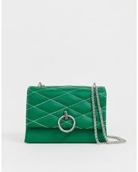 Bolso bandolera de cuero acolchado verde de New Look