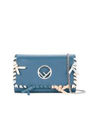 Bolso bandolera de cuero azul de Fendi