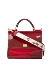 Bolso bandolera de cuero burdeos de Dolce & Gabbana