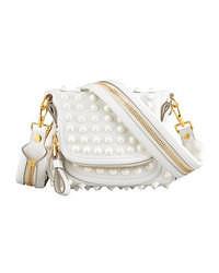 Bolso bandolera de cuero con adornos blanco