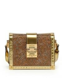 Bolso bandolera de cuero con adornos dorado