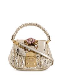Bolso bandolera de cuero con adornos dorado de Miu Miu