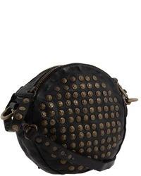 Bolso bandolera de cuero con adornos negro