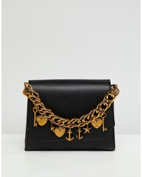 Bolso bandolera de cuero con adornos negro de ASOS DESIGN