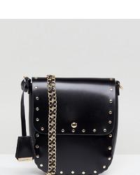 Bolso bandolera de cuero con adornos negro de Glamorous