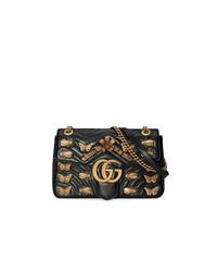 Bolso bandolera de cuero con adornos negro de Gucci