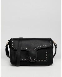 Bolso bandolera de cuero con adornos negro de Yoki Fashion