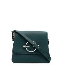 Bolso bandolera de cuero con adornos verde oscuro de JW Anderson