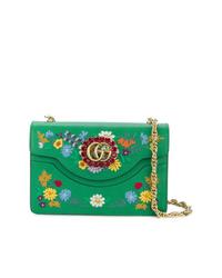 Bolso bandolera de cuero con print de flores verde de Gucci