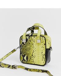 Bolso bandolera de cuero con print de serpiente amarillo de Sacred Hawk
