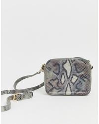 Bolso bandolera de cuero con print de serpiente gris de Paul Costelloe