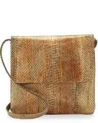 Bolso bandolera de cuero con print de serpiente marrón