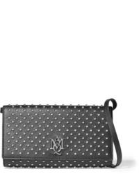 Bolso bandolera de cuero con tachuelas negro de Alexander McQueen