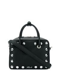 Bolso bandolera de cuero con tachuelas negro de Karl Lagerfeld