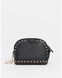 Bolso bandolera de cuero con tachuelas negro de Yoki Fashion