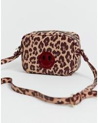 Bolso bandolera de cuero de leopardo marrón claro de Hill & Friends