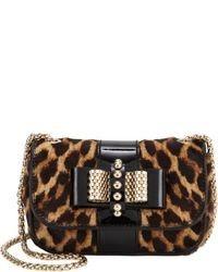 Bolso bandolera de cuero de leopardo marrón