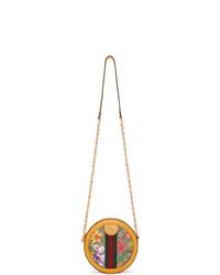 Bolso bandolera de cuero de rayas verticales amarillo de Gucci