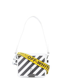 Bolso bandolera de cuero de rayas verticales en blanco y negro de Off-White